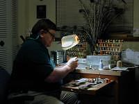 Larry Johnson at his fly tying bench.